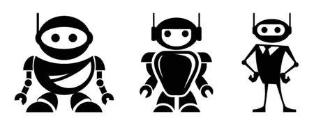Robot  design. Bot icon. Robotics. Support service bot. Vector graphics to design.