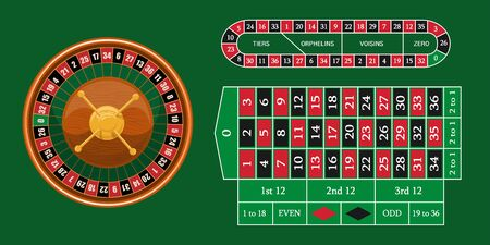 European roulette placed on green surface with a classic betting grid. Red & Black Betting casino squares. Casino gambling. Gamble game in online casino. Classic casino roulette and green table.  イラスト・ベクター素材