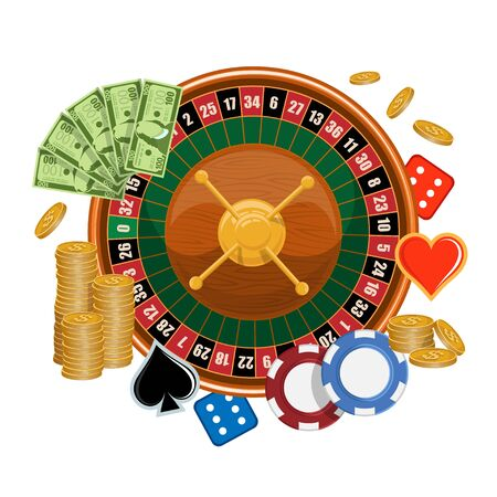 European roulette.  Red and Black Betting casino squares. Casino gambling. Gamble game in online casino. Classic casino roulette. Chips, croupier, craps dice, and playing cards. Zdjęcie Seryjne - 149048339