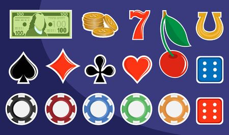 Slot machine design elements. Signs for slot machines. Casino chips, croupier, craps dice, and playing cards. Online casino. Slot machine mobile app icon. Playing Cards wins the jackpot.  イラスト・ベクター素材