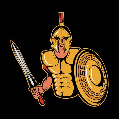 Illustration of a Roman Warrior. Spartan for tattoo or t-shirt print. Roman illustration for a sport team. Vector character. Çizim
