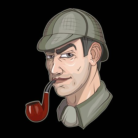 Illustration of a detective. Officer for tattoo or t-shirt print. Private detective illustration for a sport team. Vector character. Çizim