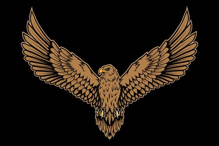 Vector illustration of a eagle. Wild animal for tattoo or t-shirt print. Bird illustration for a sport team. Vector character.  イラスト・ベクター素材