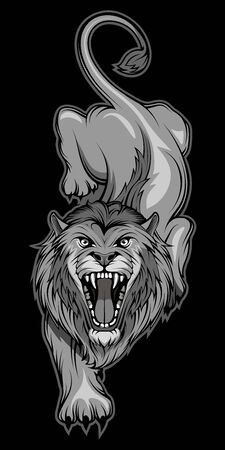 Vector illustration of a Lion. Predator mammal for tattoo or t-shirt print. Animal illustration for a sport team. Vector character.