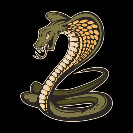 Illustration of a king cobra. Snake for tattoo or t-shirt print. Viper snake illustration for a sport team. Vector character.