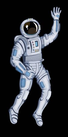 Illustration of a cosmonaut. Space cosmonaut for tattoo or t-shirt print. Spacesuit illustration for a sport team. Vector character.  イラスト・ベクター素材