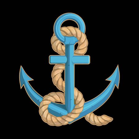 Vector illustration of a ship's anchor. Rope for tattoo or t-shirt print. Anchor illustration for a sport team. Vector character.