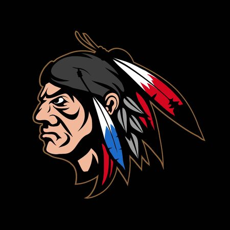 Illustration of a Indian warrior. Warrior for tattoo or t-shirt print. Indian Chief illustration for a sport team. Vector character. Indian Chief on black background