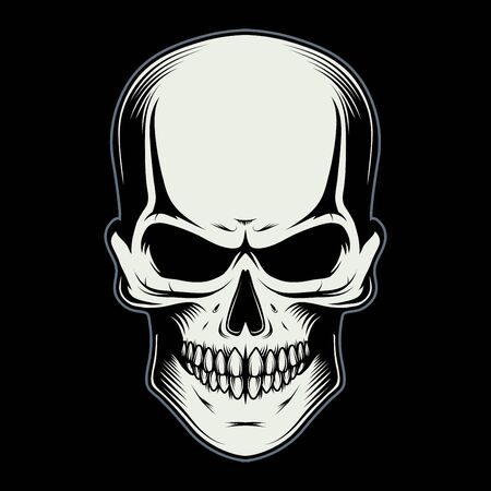 Vector illustration of a skull. Human skull for tattoo or t-shirt print. Jaw illustration for a sport team. Vector character.  Skull on black background.