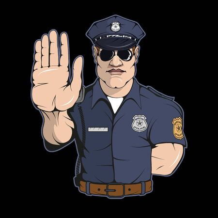 Illustration of a professional police. Officer for tattoo or t-shirt print. Policeman illustration for a sport team. Vector character.  Police on black background