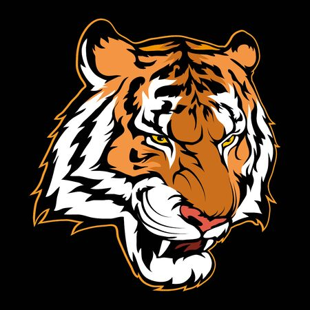 Vector illustration of a tiger. Wild animal for tattoo or t-shirt print. Tiger illustration for a sport team. Vector character.   Tiger on black background.
