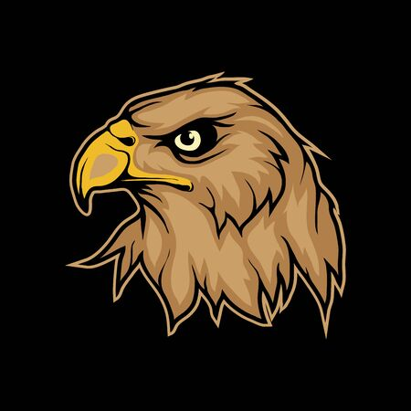 Vector illustration of a eagle. Bird for tattoo or t-shirt print. Head eagle illustration for a sport team. Vector character.