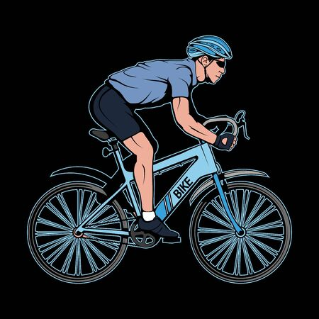Illustration of a cyclist. Bicycle for tattoo or t-shirt print. Man riding a bike illustration for a sport team. Vector character. Sports bike on black background Illustration