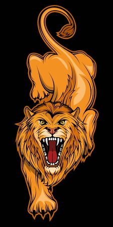 Vector illustration of a Lion. Wild animal for tattoo or t-shirt print. Predator illustration for a sport team. Vector character.  Lion on black background.