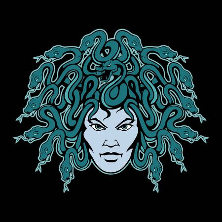Vector illustration of a Gorgon Medusa. Monster for tattoo or t-shirt print. Gorgon illustration for a sport team.  Gorgon Medusa on black background