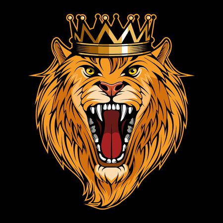 Vector illustration of a Lion. Lion for tattoo or t-shirt print. Roar illustration for a sport team. Vector character.  King Lion on black background.