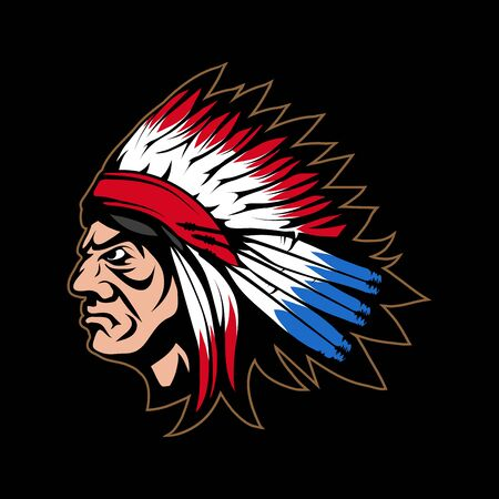 Illustration of a Indian Chief. Indian warrior for tattoo or t-shirt print. Warrior illustration for a sport team.   Indian Chief on black background