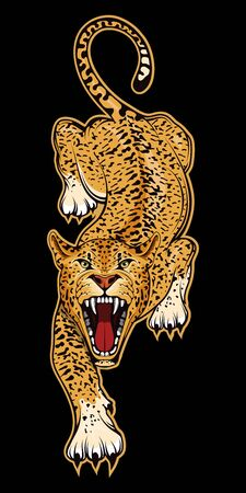 Vector illustration of a Jaguar. American tiger for tattoo or t-shirt print. Panther illustration for a sport team. Ilustração