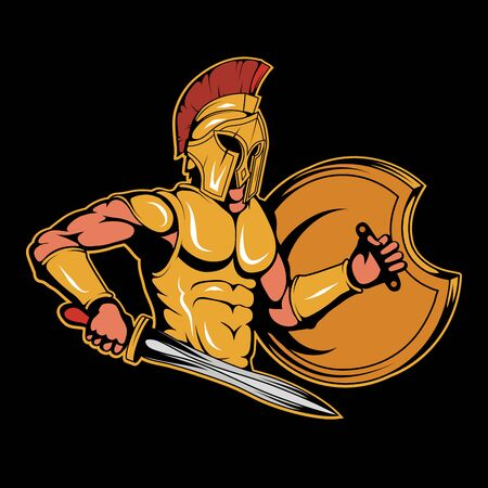 Illustration of a Spartan Warrior. Roman for tattoo or t-shirt print. Spartan illustration for a sport team. Vector character.  Roman Warrior on black background