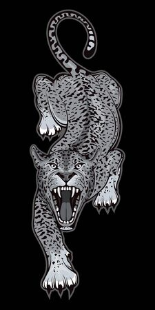 Vector illustration of a Jaguar. Predator mammal for tattoo or t-shirt print. Wild animal illustration for a sport team. Vector character. Panther on black background