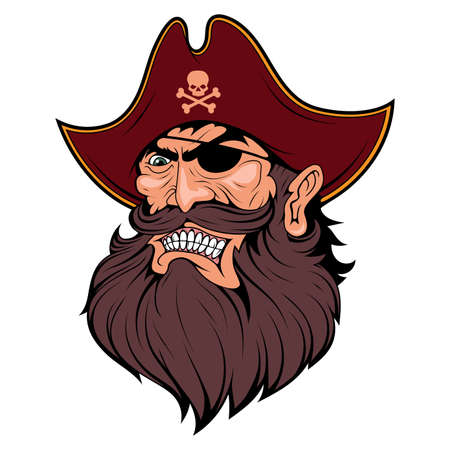 Bearded evil pirate. Pirate tattoo. Captain . Pirate Eye. Buccaneer hat. Vintage sailor character. Filibuster face. Freebooter Monochrome style. Vector graphics to design.