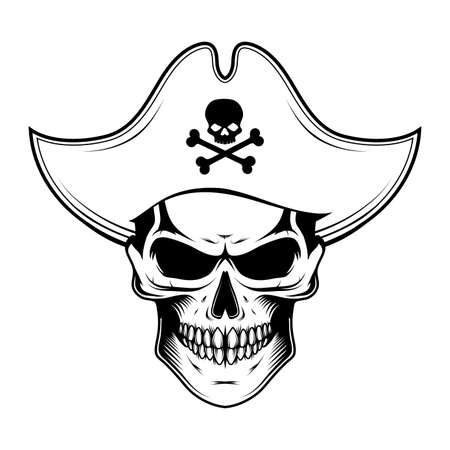 Skull evil pirate. Pirate tattoo. Captain . Pirate Eye. Buccaneer hat. Vintage sailor character. Filibuster face. Freebooter Monochrome style. Vector graphics to design.