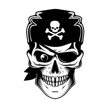 Skull evil pirate. Pirate tattoo. Captain. Pirate Eye. Buccaneer hat. Vintage sailor character. Filibuster face. Freebooter Monochrome style. Vector graphics to design.