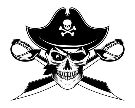 Bearded evil pirate. Sabers crosswise. Captain logo. Pirate Eye. Buccaneer hat. Vintage sailor character. Filibuster face. Freebooter Monochrome style. Vector graphics to design.