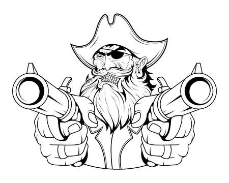Bearded evil pirate. Revolver pirate. Captain logo. Pirate Eye. Buccaneer hat. Vintage sailor character. Filibuster face. Freebooter Monochrome style. Vector graphics to design.