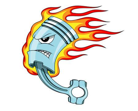 Piston. Flaming piston tattoo. Piston mascot .Car Club Logo. Vector graphics to design Illustration