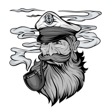 Bearded ship captain. Sailor head. Sea dog. Sailor Portrait. Captain with a pipe. Smoking sailor. Sea character. Seas Buccaneer. Captain in a navy cap. Old Pirate. Vector graphics to design.