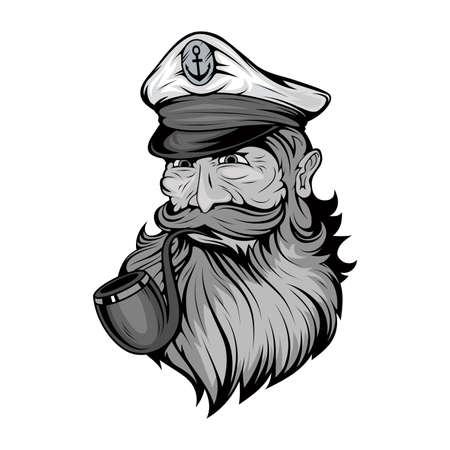 Bearded ship captain. Sailor head. Sea dog. Sailor Portrait. Captain with a pipe. Smoking sailor. Sea character. Seas Buccaneer. Captain in a navy cap. Old Pirate. Vector graphics to design.