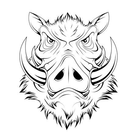 Wild Boar Head. Pig. Boars Head Logo. Sketch for mascot, logo or symbol. Hog or boar mascot. Vector graphics to design Illustration