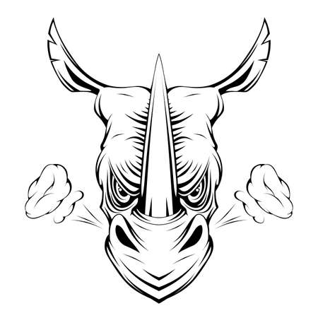 Angry rhinoceros. Rhino animal. Sports mascot. Angry cartoon animal. Rhino head. Dimensional modeling. Logo for printing. Animal head for tattoo. Vector graphics to design.
