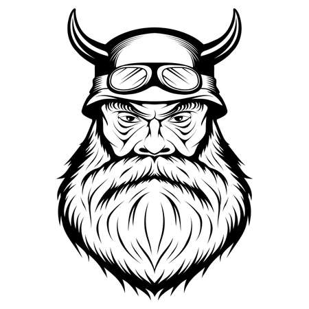 Biker. Character. Bald man. Male face. Hipster. Person with the scar. Bearded man. Male head. Evil person. Vector graphics to design