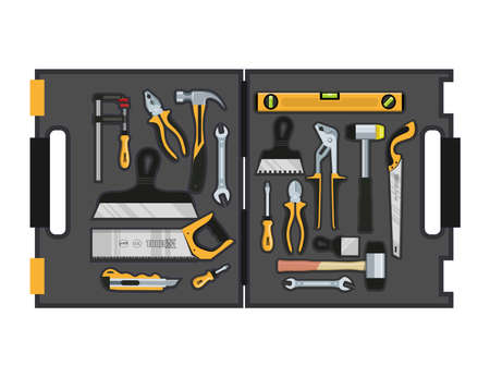 Toolbox with hand tools inside. Workbox with instruments. Building tools. Instruments for renovation. Work tools. Vector graphics to design. Ilustração