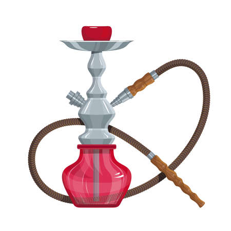 Hookah vector image. Relaxing smoking. Hookah logo design, label, badge. Relaxation. Logo for printing. Hookah Smoking. Vector graphics to design. Illustration