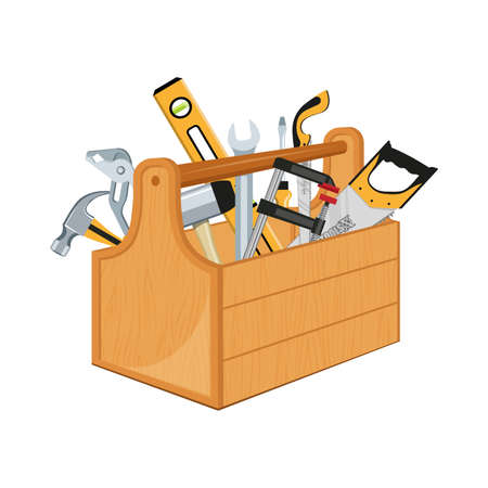 Toolbox with hand tools inside. Workbox with instruments. Building tools. Instruments for renovation. Work tools. Vector graphics to design. 写真素材 - 163395216