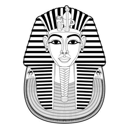 Mask of Tutankhamun. Gold mask. Living image of Amon. Valley of the Kings in Egypt. King Tutankhamun's death mask. Pharaoh of Ancient Egypt. Tutankhamun. King Tut. Vector graphics to design Illustration