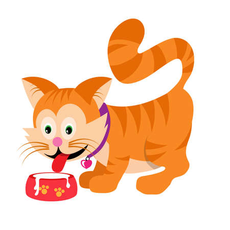 Cartoon Cat drinks milk. Vector graphics to design