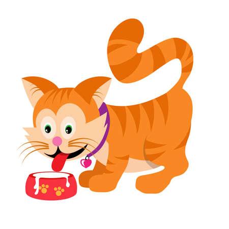 Cartoon Cat drinks milk. Vector graphics to design