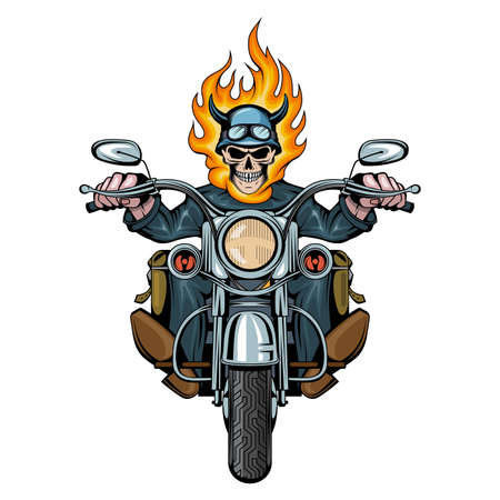 Burning Skull. Evil person. Skull Biker Sits On A Bike. Skull riding a motorcycle. Tattoo. Biker party. Vector graphics to design