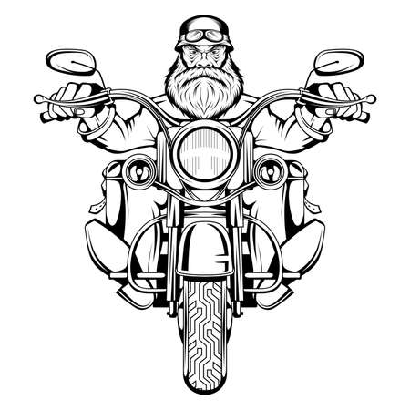 Biker Man Sits On A Bike. Man riding a motorcycle. Bearded biker man. Tattoo. Biker party. Male face with the scar. Evil person. Vector graphics to design Ilustração