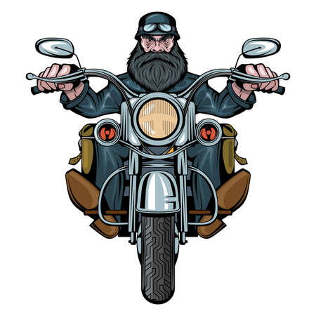 Biker Man Sits On A Bike. Man riding a motorcycle. Bearded biker man. Tattoo. Biker party. Male face with the scar. Evil person. Vector graphics to design Illustration