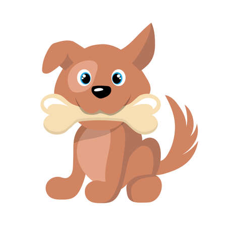 Cartoon Dog with bone. Vector graphics to design