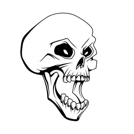 Skull open mouth drawing. Emblem tattoo skull. Halloween. Retro human skull and jaw. Vector graphics to design Ilustração