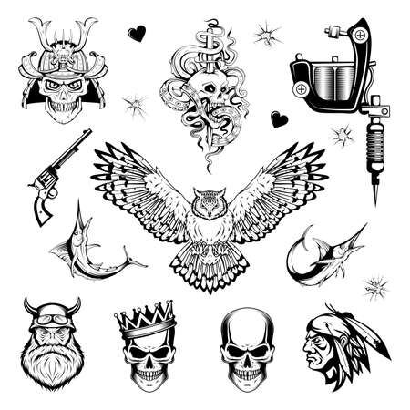 Tattoo art. Black and white tattoo. Drawing on the body. Hand drawn Tattoo set. Vector graphics to design