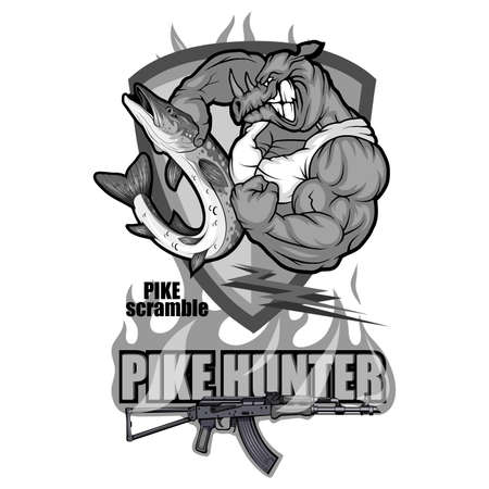 Pike Image. Fishing Pike Tournament. Pike competition logo. Fish monster. Sketch for mascot, logo or symbol. Sport fishing club. Vector graphics to design
