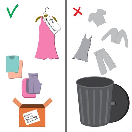 Vector illustration of ecology problem, environmental pollution. Got a lot of clothes you don't wear anymore? Don't chuck them out! Instead, give your clothes a second life