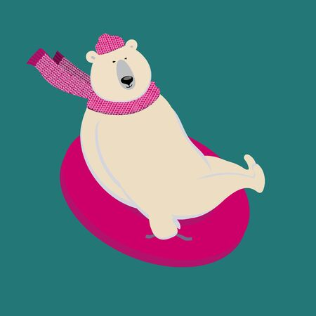 Polar bear is sliding down a slope on snow tube. Charming sporty and strong animal wears scarf and cap has fun. Vector illustration with character in flat style. Can be used as mascot